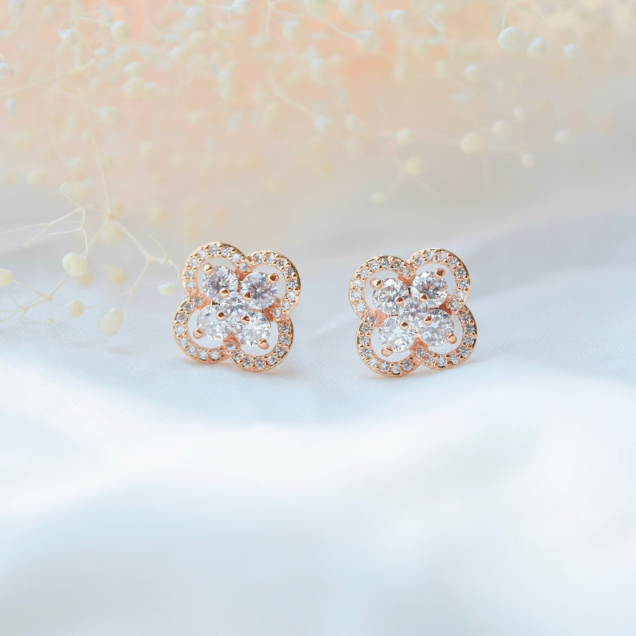 Rose Gold Made in Korea Earrings Korean Anting Cubic Zirconia Bride Bridal Dinner Titanium Accessory Fashion Fancy Stylish Jewellery Online Malaysia Shopping Trendy Accessories Daily Wear Jewelry Dainty Minimalist Delicate Clip On Earrings No Piercing Special Perfect Gift From Heart For Your Loved One