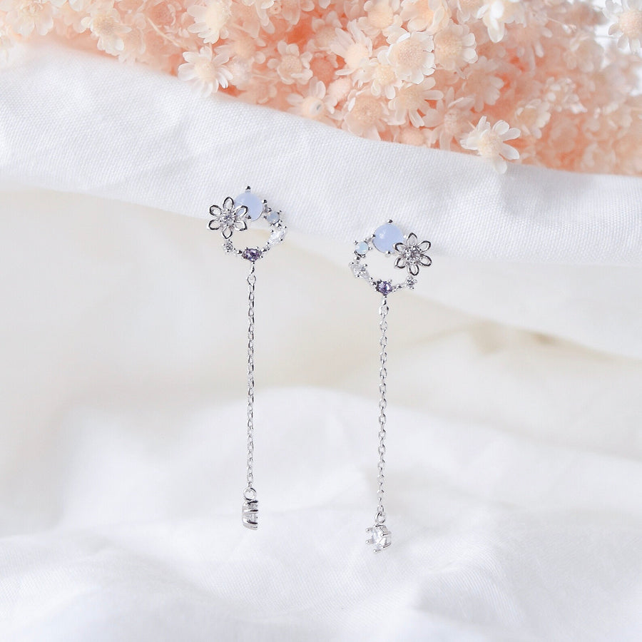 Silver Korea Made Earrings Dainty Delicate Local Brand in Malaysia 925 Sterling Silver Anting Cubic Zirconia Clip On Earrings