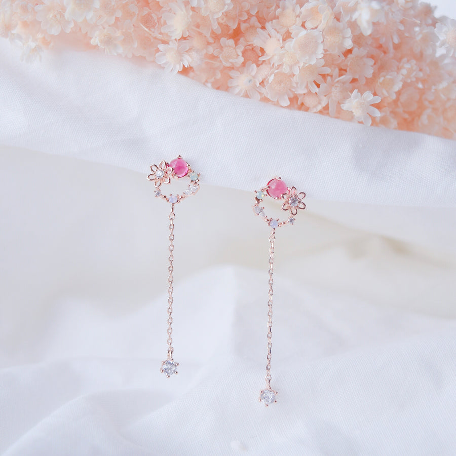 Rose Gold Korea Made Earrings Dainty Delicate Local Brand in Malaysia 925 Sterling Silver Anting Cubic Zirconia Clip On Earrings