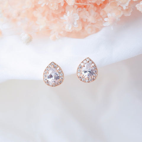 Rose Gold Tear Drop Earrings
