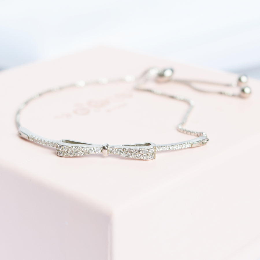 Silver Ribbon Diamond Bracelet