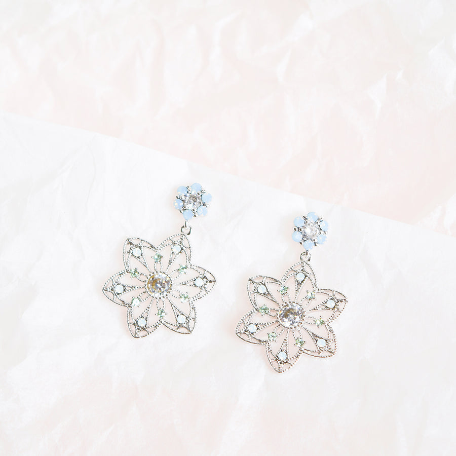 Silver Korea Made Earrings Local Brand in Malaysia Cubic Zirconia Anting Clip On Earrings