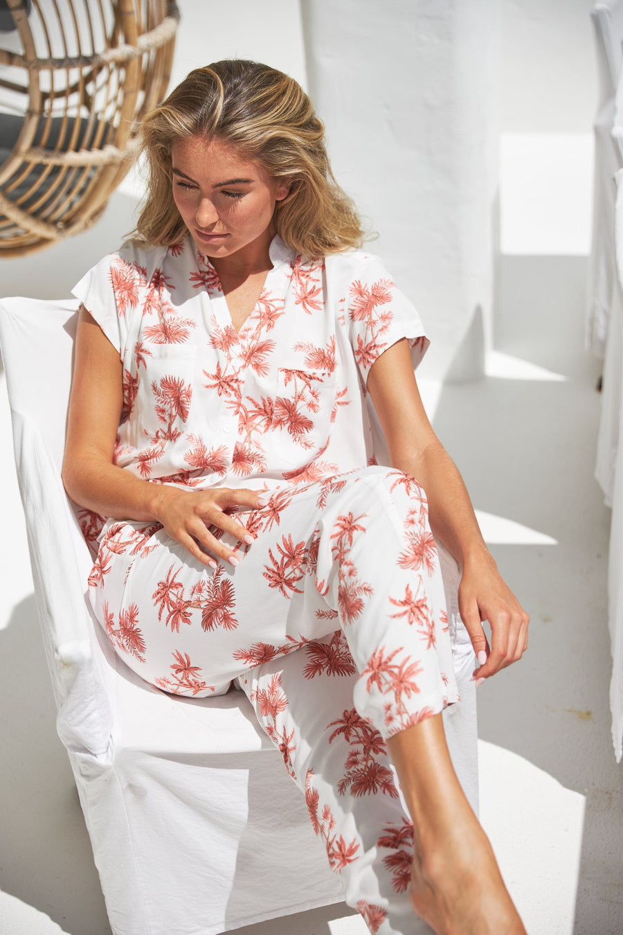 Maggie Pajama Set - Long Pants - Vintage Palm Sunset