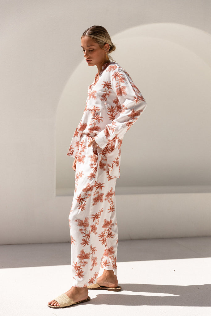Maggie Pajama Set - Long - Vintage Palm Sunset