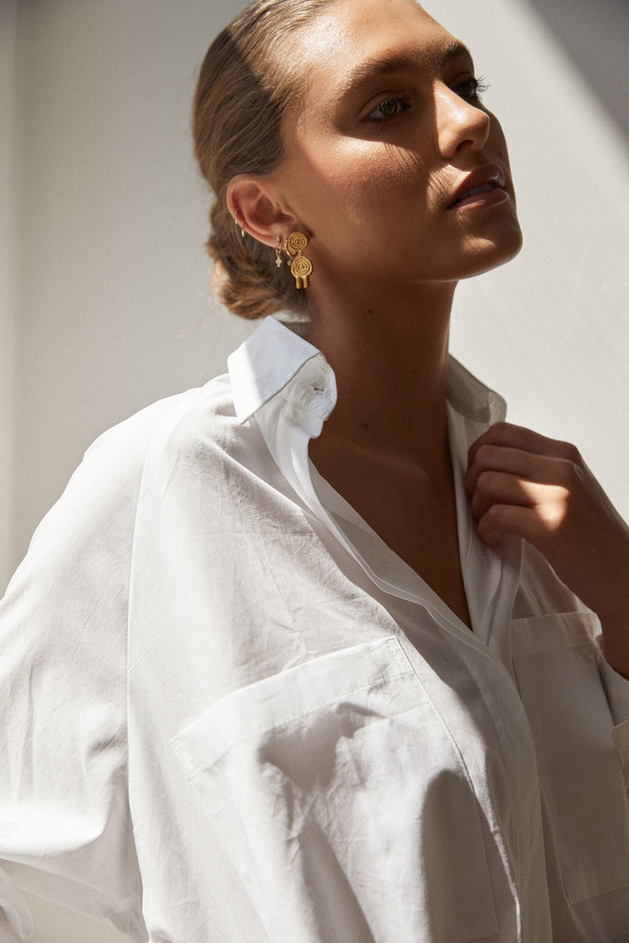 Madeleine Boyfriend Shirt - White Cotton