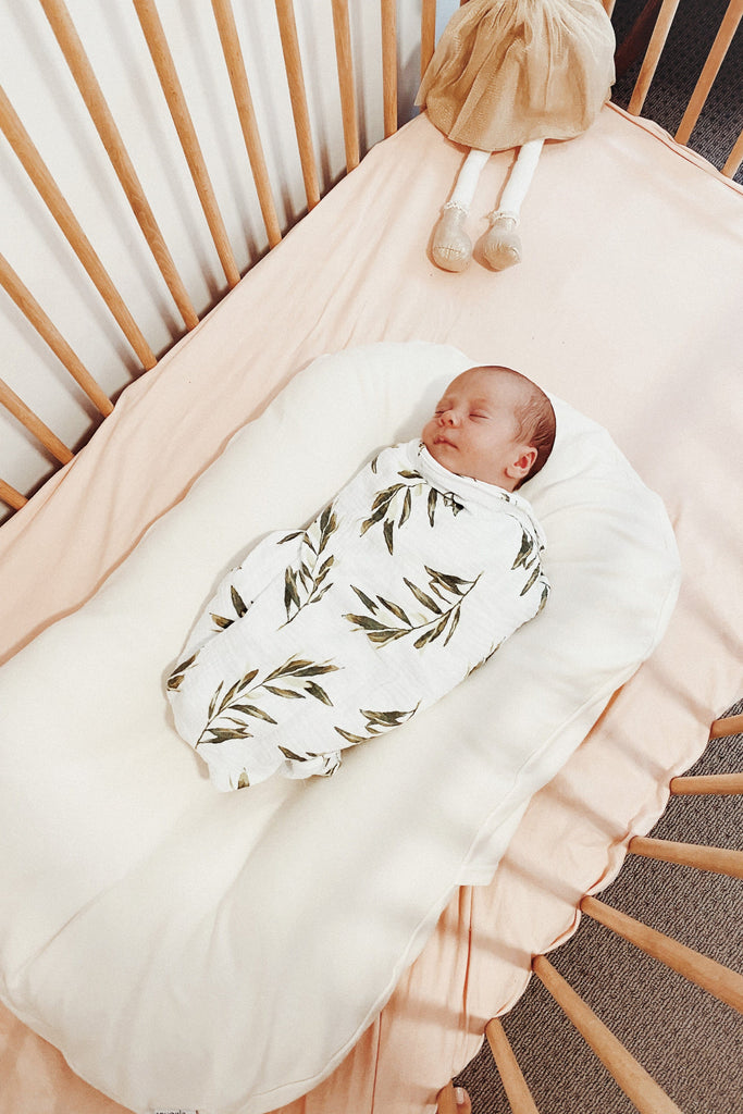 Baby Swaddle Blanket - Olive Leaf - Cotton Bubble