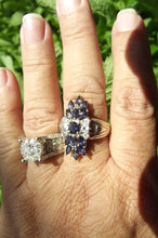 Load image into Gallery viewer, Vintage CID Tanzanite and White Sapphire Sterling Silver ring sz 9.75