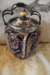 Ceramic Hand painted Biscuit Jar, Taylor Tunnicliffe Staffordshire, Imari, 1870's