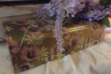Load image into Gallery viewer, French Ivory Silk Lined Pansy Dresser box Set