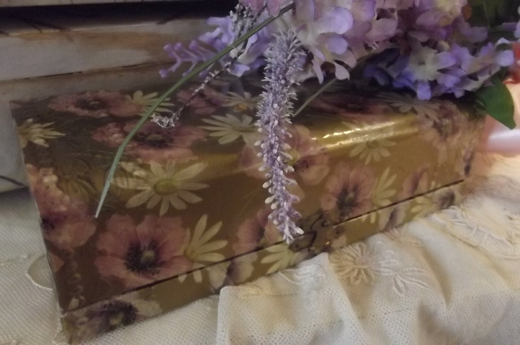 French Ivory Silk Lined Pansy Dresser box Set
