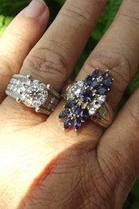 Vintage CID Tanzanite and White Sapphire Sterling Silver ring sz 9.75