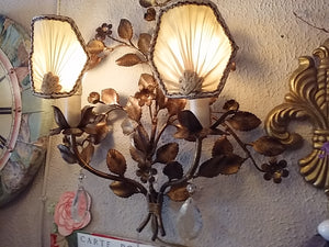 Old Shabby Tole Iron Wall Sconce Light, 1930's