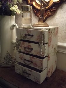 French Fabric Covered BOUDOIR Box Chest of Drawers