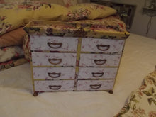 Load image into Gallery viewer, Crowned French Fabric Covered Wide Chest of Drawers