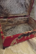 "Load image into Gallery viewer, Medium French Fabric Covered Boudoir Box, ""Red Scarlett"""