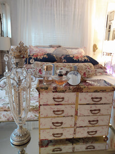 Crowned French Fabric Covered Wide Chest of Drawers