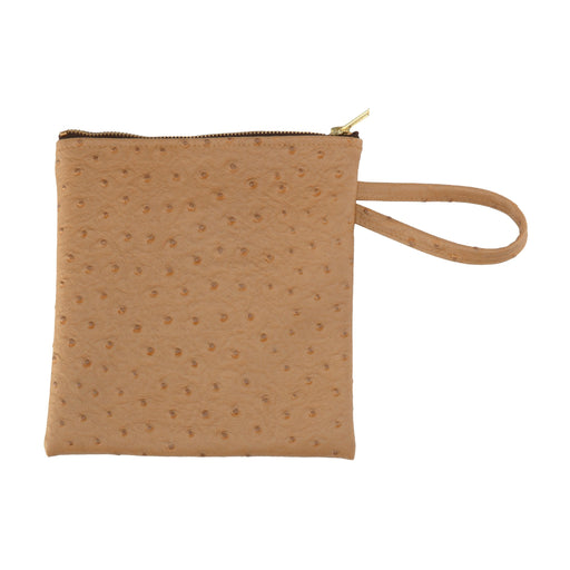 Stylish Brown Faux-Ostrich Clutch