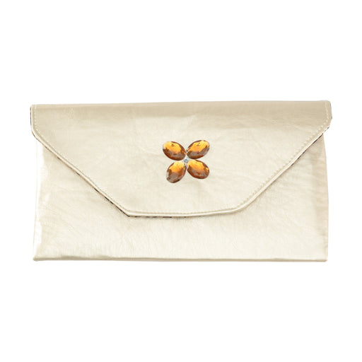 Cream Clutch with Gem Flower