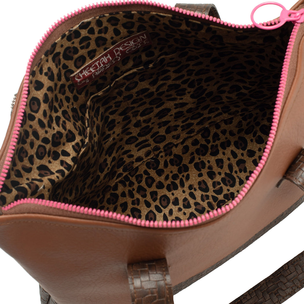 Brown Basket-Weave Faux Leather Bag with Pink Zipper