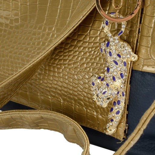 Gold Faux Alligator with Navy Blue Faux Leather