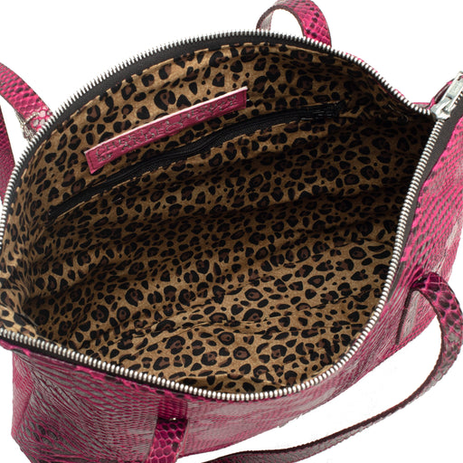 Black and Pink Faux Alligator Leather