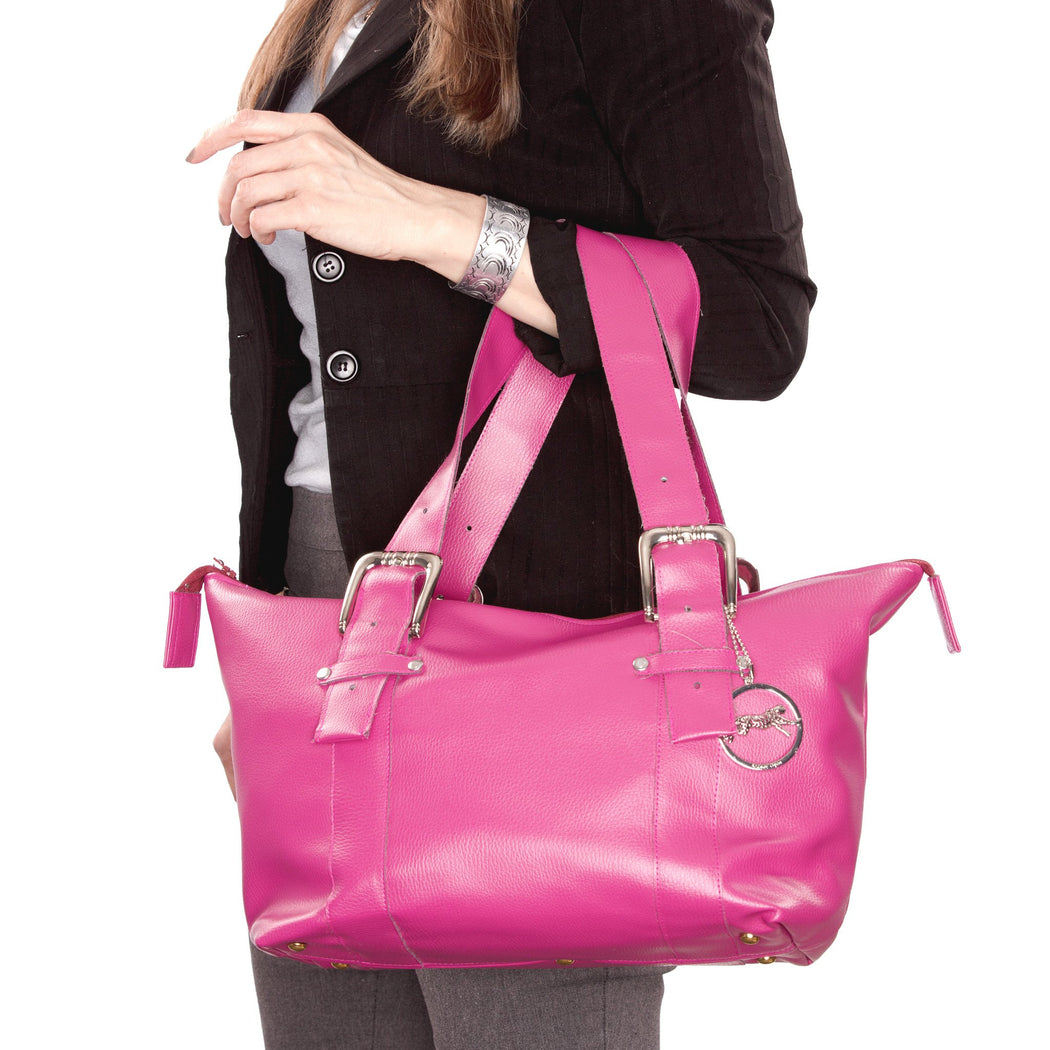 Fuschia Faux Leather with Silver Bucket Strap