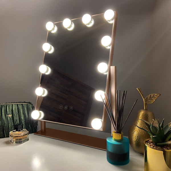 Roxy Champagne Hollywood Mirror with LED Lights - 30x41 cm - Glamour Mirrors