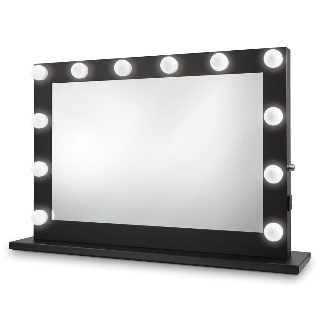 Dita Black Hollywood Mirror with LED Lights - 700x1000mm - Glamour Mirrors UK