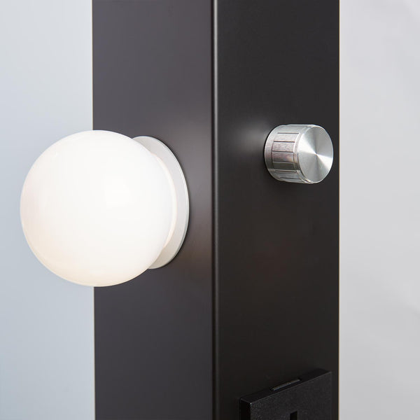 Dita Black Hollywood Mirror with LED Lights - 70 x 100cm - Glamour Mirrors UK