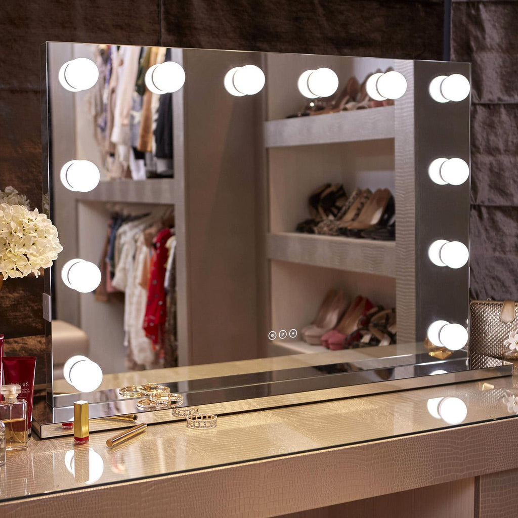 Whitney Hollywood Mirror with LED Lights - 60x80cm - Glamour Mirrors UK