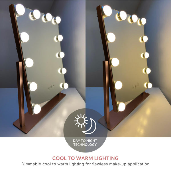 Roxy Rose Gold Hollywood Mirror with LED Lights - 30x41 cm - Glamour Mirrors
