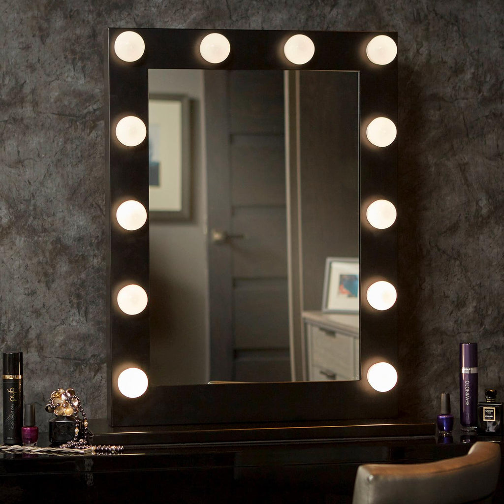 Dita Black Hollywood Mirror with LED Lights - 80 x60 cm - Glamour Mirrors UK
