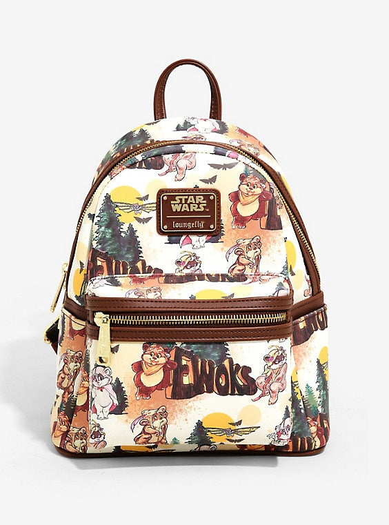 Loungefly Star Wars Cartoon Ewok Mini Backpack