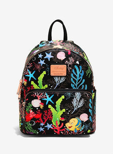 Loungefly Disney The Little Mermaid Flounder & Sebastian Undersea Mini Backpack