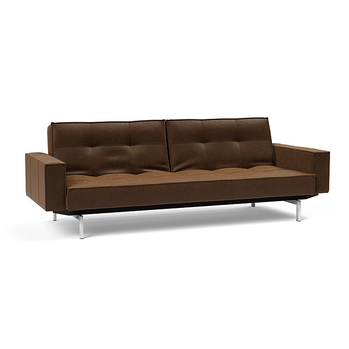 Splitback Chrome Sofa Bed with Arms
