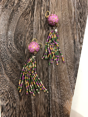 Purple Beaded Earrings