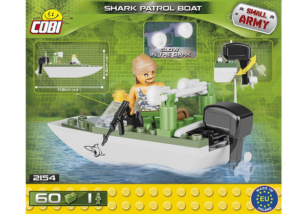 Achterkant van de Cobi 2154 bouwset Small Army Collection Shark Patrol Boat