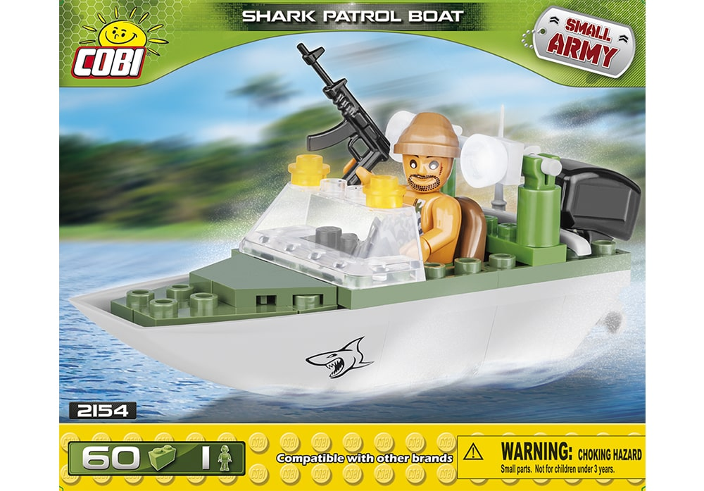 Voorkant van de Cobi 2154 bouwset Small Army Collection Shark Patrol Boat