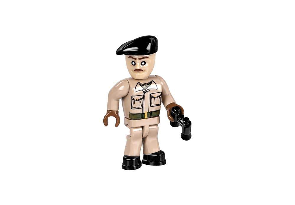 Tankcommandant mini speelfiguur in kaki uniform met verrekijker van de Cobi 2391 historical collection world war 2 m3 grant tank