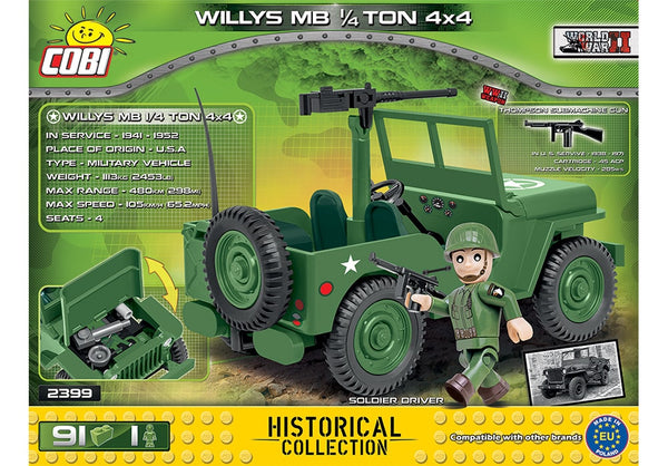 Achterkant van de Cobi 2399 bouwset World War II Historical Collection Willys MB 1/4 Ton 4x4 Amerikaanse Leger Jeep