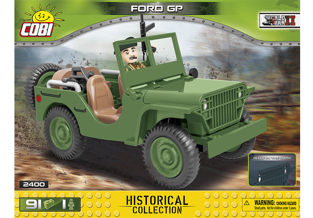 Voorkant van de Cobi 2400 bouwset World War II Historical Collection Ford GP Amerikaanse jeep