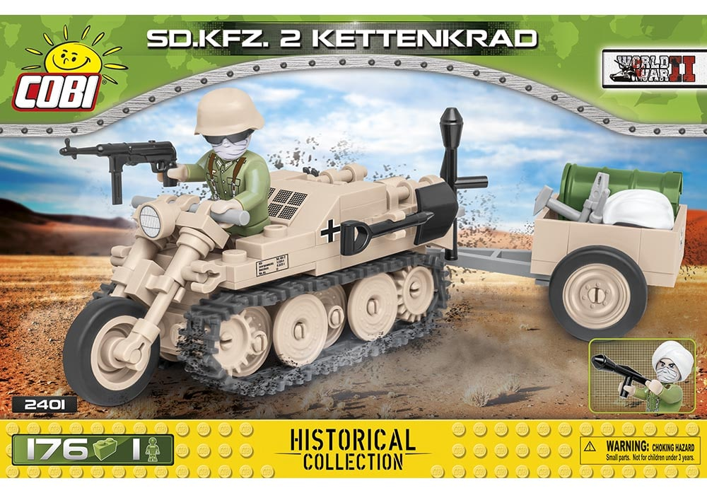 Voorkant van de Cobi 2401 bouwset world war 2 historical collection sd.kfz. 2 kettenkrad