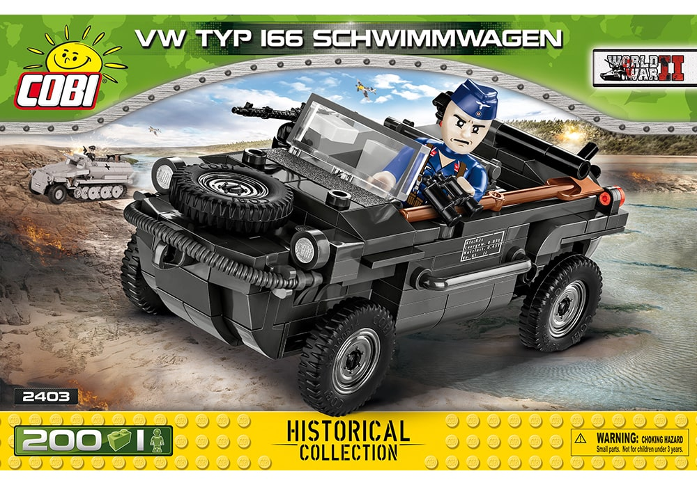 Voorkant van de Cobi 2403 bouwset World War II Historical Collection Typ 166 Schwimmwagen militair voertuig