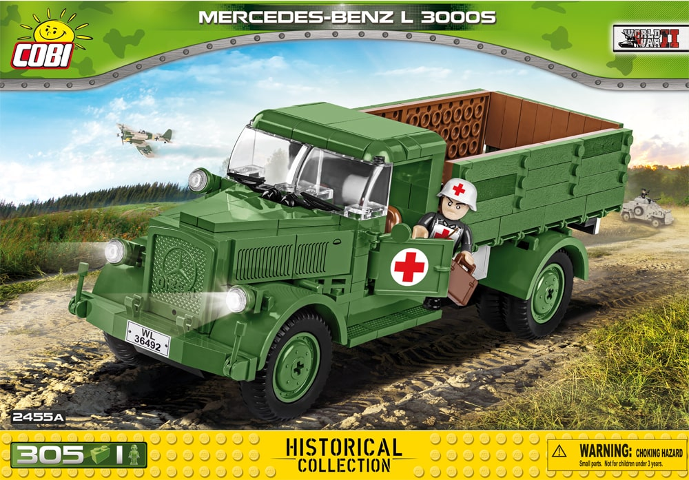 Voorkant van de Cobi 2455A bouwset World War II Historical Collection Mercedes-Benz L 3000S Duitse vrachtwagen
