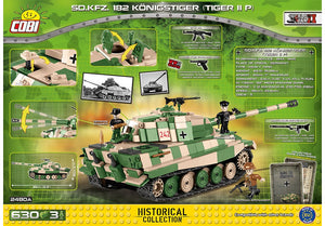 Achterkant van de Cobi 2480A bouwset World War II Historical Collection SD.KFZ. 182 Königstiger Tiger IIP zware Duitse tank