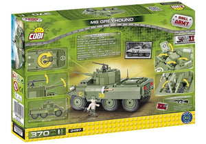 Achterkant van de doos van de Cobi 2497 wielvoertuig small army world war 2 m8 greyhound