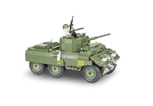 Zijaanzicht van de Cobi 2497 wielvoertuig small army world war 2 m8 greyhound
