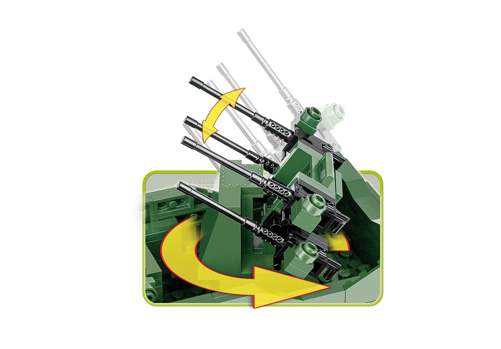 Roterende flak vierling en anti-air gun van de bouwset Cobi 2499 World War 2 M16 Half-track