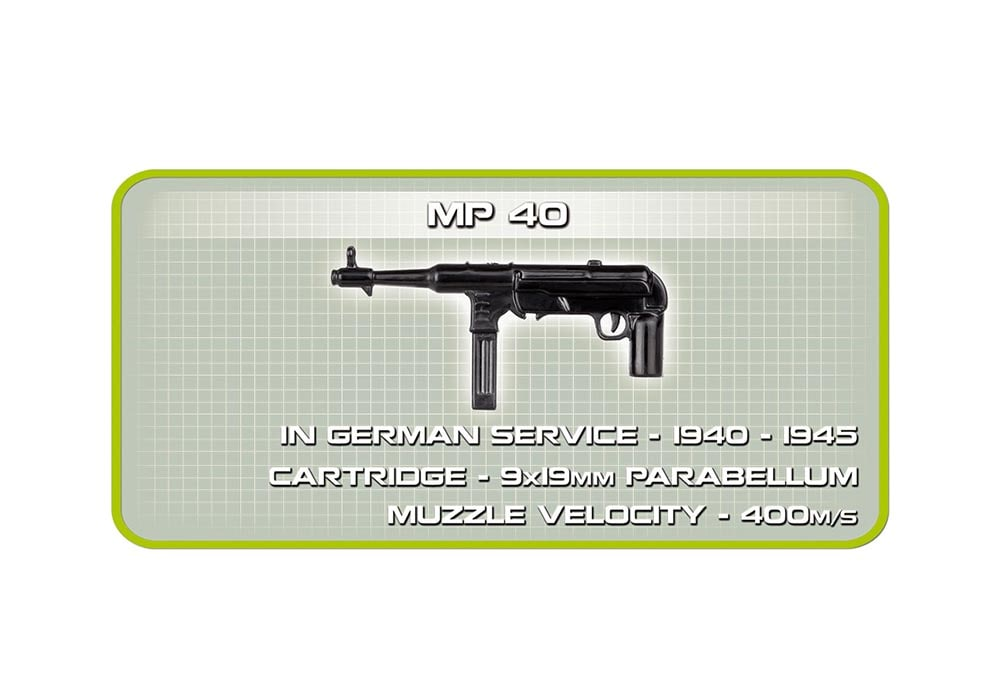 Informatie over het machinepistool mp40 van de Cobi 2516 historical collection world war 2 sd.kfz 165 Hummel artillerie tank