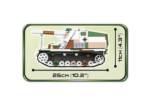 Zijaanzicht met afmetingen van de Cobi 2516 historical collection world war 2 sd.kfz 165 Hummel artillerie tank